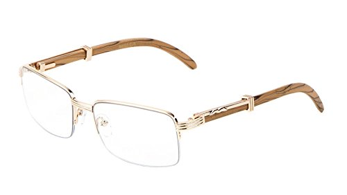 Executive Half Rim Rectangular Metal & Wood Eyeglasses / Clear Lens Sunglasses - Frames (Rose Gold & Light Brown Wood, - Rectangular Eyeglass Frames