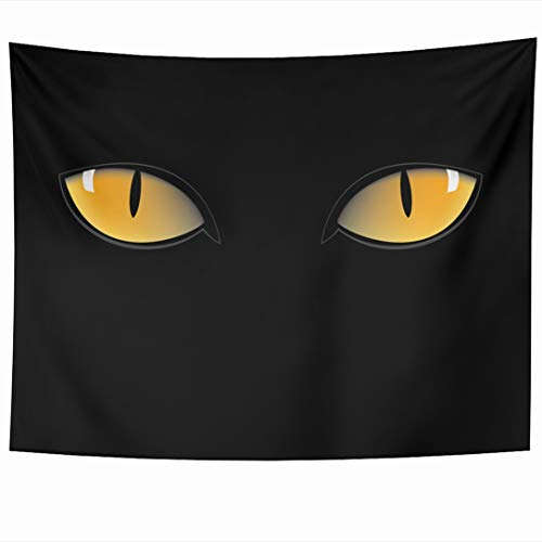 (Ahawoso Tapestry 60x50 Inch Iris Blue Panther Orange Cat Eyes Dark Eyeball Night Green Glow Tiger Witch Abstract Design Wall Hanging Home Decor for Living Room Bedroom Dorm )