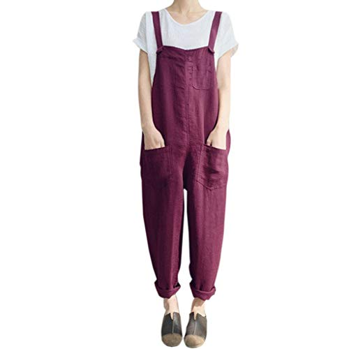 QIQIU Womens New Loose Cotton Linen Dungarees Casual Solid Sleeveless Plus Size Pockets Party Jumpsuit Long Playsuits Red