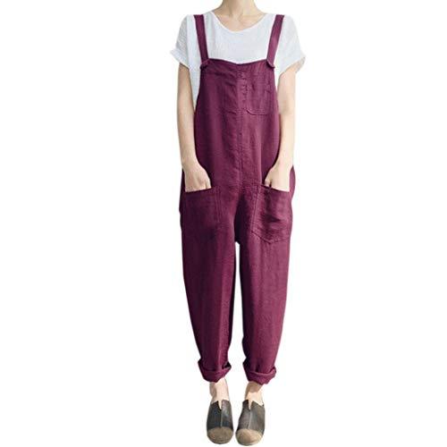 Nadition Ladies Plus Size Jumpsuit Women Summer Sleeveless Dungarees Loose Cotton Linen Long Playsuit Party Jumpsuit Red