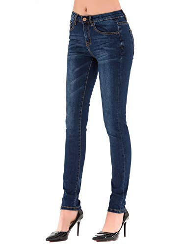 HONTOUTE Women's Yoga Stretchy Jeans High Rise Curvy Skinny Butt Lift Denim Legging Dark Blue 2 (25) (Canyon River Blue Jeans)