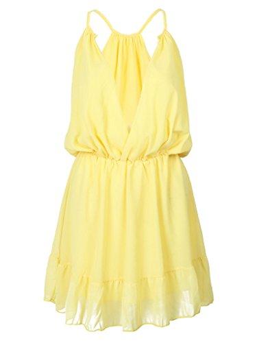 Persun Womens Yellow V neck Elastic