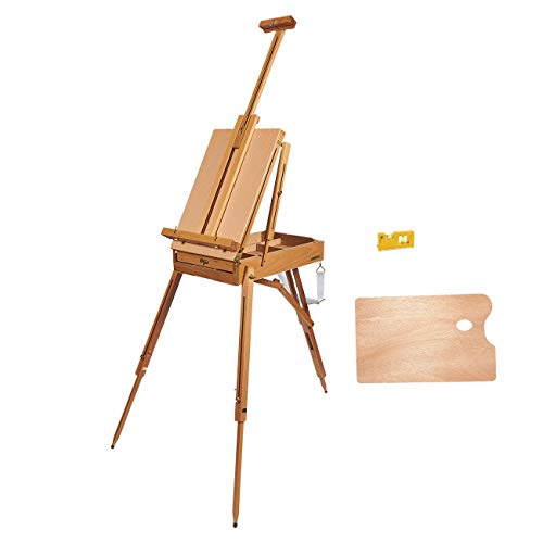 French Easel - Portable Wooden French Art Easel Stand with 12-Inch Drawer - Includes Wood Palette, Sketch Box, Shoulder Strap, Level for Field Painting and Drawing - 71.2 x 29.5 x 41 Inches Extended]()