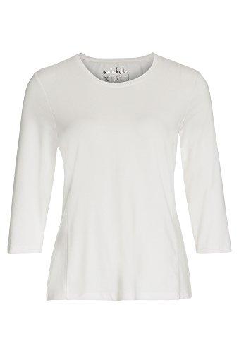 Michèle Boyard Basic-Shirt mit 3/4-Arm - Damen Oberteil Top Frauen Rundhals Viskose Stretch Weiß qXnzbQzK