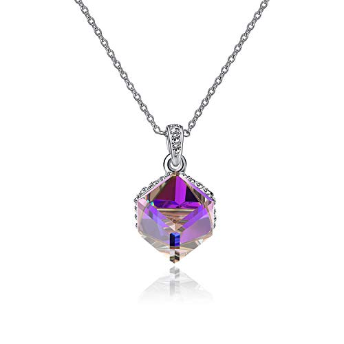 EVEVIC Color Changing Cubic Swarovski Crystal Pendant Necklaces for Women Girls 14K Gold Plated Jewelry (Purple - Gold Necklace Silver Tone Plated