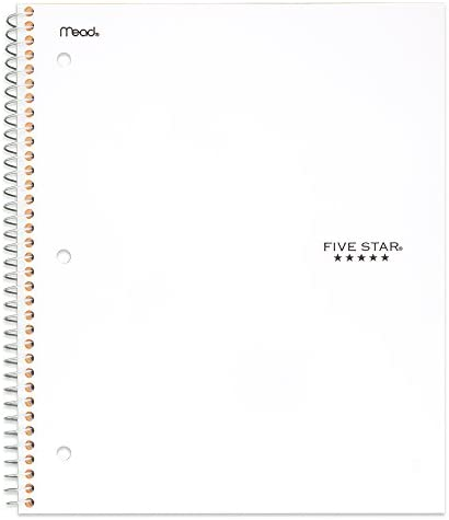 "Five Star Spiral Notebook, 5 Subject, College Ruled Paper, 200 Sheets, 11"" x 8-1/2"", School, Wired, White (72460)"
