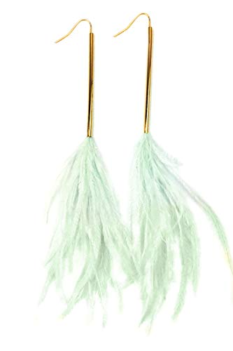 Mina Gold Perfect Line Genuine Ostrich Feather Polished Long Polished Bar Extra Long Dangle Mint Green ()