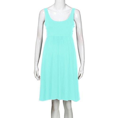918b84c9619f MCYs Damen Umstandskleid Stillkleid Umstandsmode Schwangerschafts Kleid  Rundhals Pregnants Pflege Mutterschaft Solid Weste Kleid Grün 3a9dDxh5B2 ...