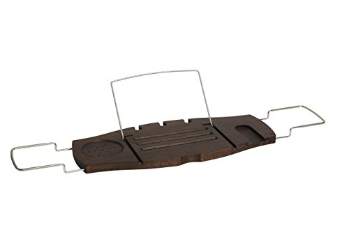 Walnut Bath - Umbra Aquala Bathtub Caddy Bamboo Extendable and Adjustable Tray Holder, Walnut Finish