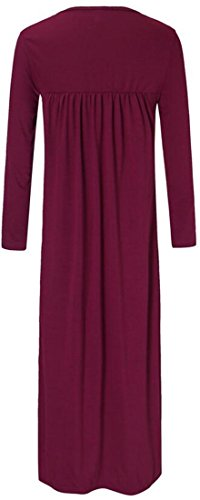 Dress Long Neck Cruiize Pleated Sleeve Solid Women's Red Maxi V Long Wine g8xHzqxw4