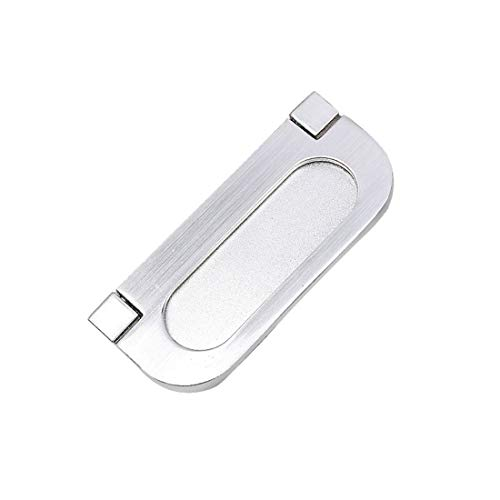 Flush Ring Pull Polished Brass - Txinmin 2-9/10-inch Long Zinc Alloy Satin Nickel Flush Recessed Handle Base Frosted Texture Door Drawer Finger Pull Sliding Barn Door Handles and Pulls, 2pcs, Silver