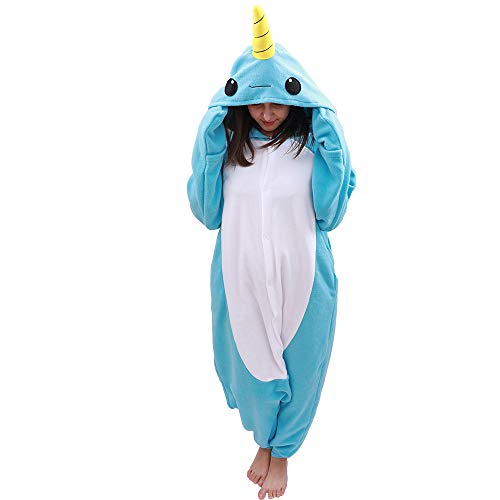 Animal Oneise Narwhal Pajamas - Plush One Piece Costume (X-Large, Blue)