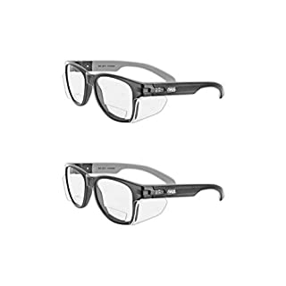 MAGID Safety Glasses Y50BKAFC15 Iconic Y50 Design Series Safety Glasses with Side Shields | ANSI Z87+ Performance, Scratch & Fog Resistant, Comfortable & Stylish, Cloth Case Included, +1.5 BiFocal Lens (2 Pair)
