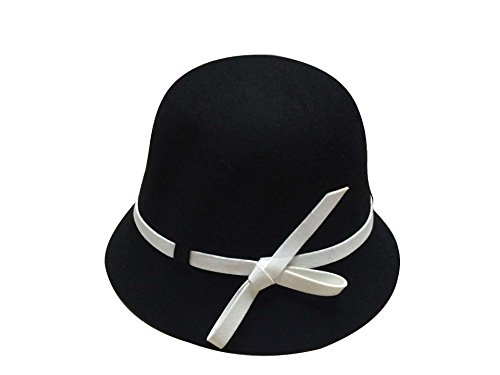 ACVIP Little Grils Solid Color Cap Cloche Bowler Bucket Dress Hat with Side Bow (Black) by ACVIP