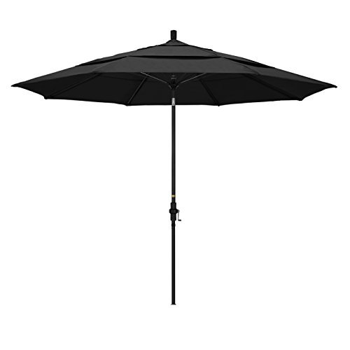 California Umbrella 11' Round Aluminum Pole Fiberglass Rib Market Umbrella, Crank Lift, Collar Tilt, Black Pole, Black Olefin ()