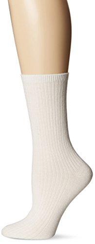 - Hot Sox Women's Collection Luxury Crew Socks, Cashmere Light Rib (Ivory), Shoe Size: 4-10