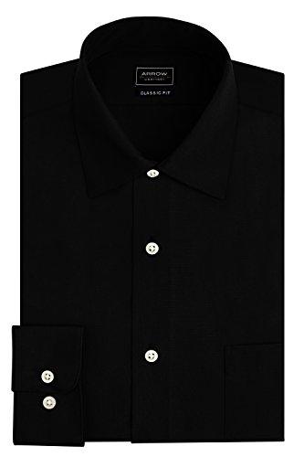 Arrow Men's Sateen Regular-Fit Solid Point-Collar Dress Shirt, Black, X-Large/17