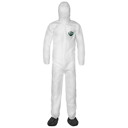 Lakeland SafeGard SMS Polypropylene Coverall with Hood and Boots, Disposable, Elastic Cuff, 2X-Large, White (Case of 25) by Lakeland Industries Inc