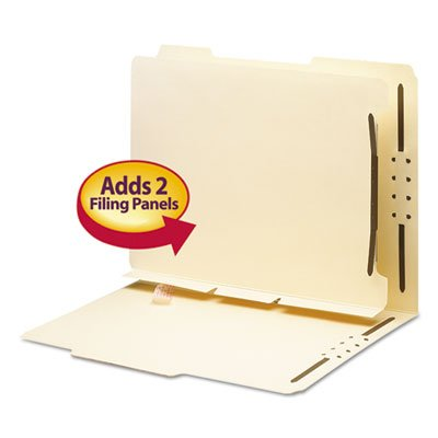 Folder Fasteners Pockets Tabs Inserts - Manila Self-Adhesive Folder Dividers with Twin-Prong Fastener, Letter, 25/Pack, Sold as 25 Each