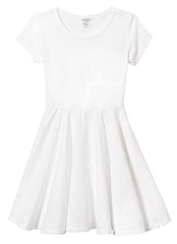 City Threads Big Girls' Short Sleeve Twirly Circle Party Dress Perfect For Sensitive Skin/SPD/Sensory Friendly For School or Play Fall/Spring, White, 12 -