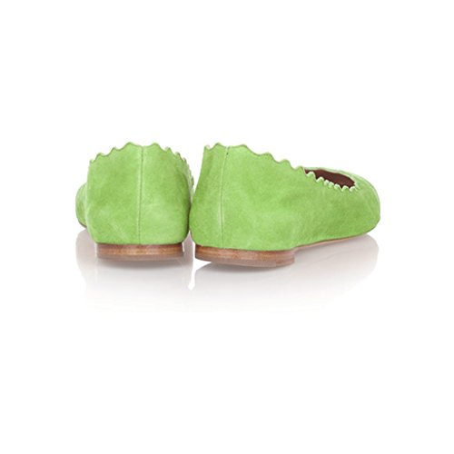 FSJ Women Cute Dress Shoes scalloping Round Toe Suede Ballet Flats For Comfort Size 4-15 US Grass Green cheap sale from china free shipping eastbay cheap clearance Inexpensive sale online k9p56A