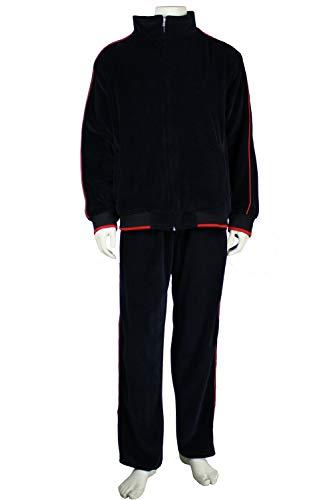 Sweatsedo Mens Velour Tracksuit (Small, Black w/Red Piping)