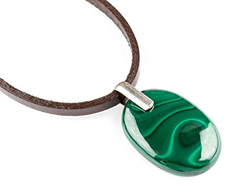 Malachite Gemstone Pendant Locket Handmade Brown Genuine Leather Cord Necklace Jewelry April-May Birthstone