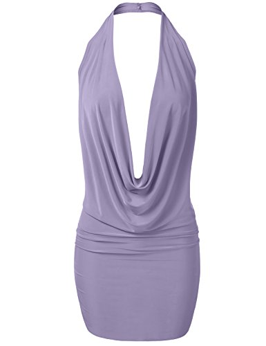 Luna Flower Women's Sexy Low Cut Halter Dress - Fitted Plunge Party Dress Lavender Large (GDRW064) -