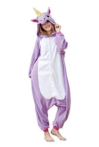EcoOnesie Unisex Adult Pajama Costume Purple Unicorn Onesie