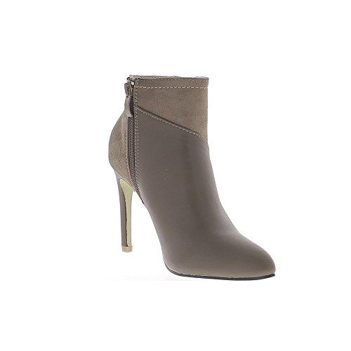 Topo señaló tobillo botas tacón aguja 10 cm look brillante liso de piel y gamuza