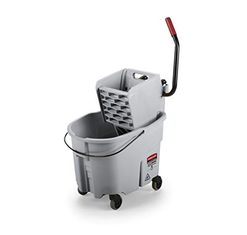 Rubbermaid Commercial WaveBrake Mopping System Bucket and Side-Press Wringer Combo, 35-quart, Gray ()