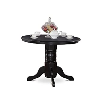 East West Furniture SHT-BLK-TP Round Kitchen Table, 42-Inch, Black Finish