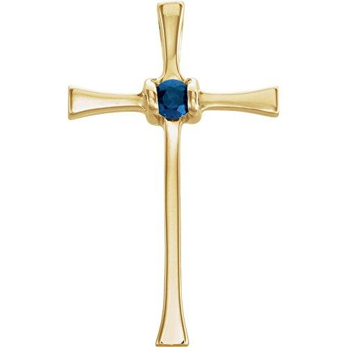 FB Jewels 14K Yellow Gold Sapphire Cross Pendant