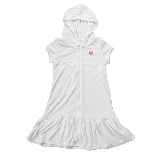 DAYU Girls Hooded Zip Front Terry Swimsuit Cover Up Short Sleeve Ruffle Hem Swim Robe, White, 14/16