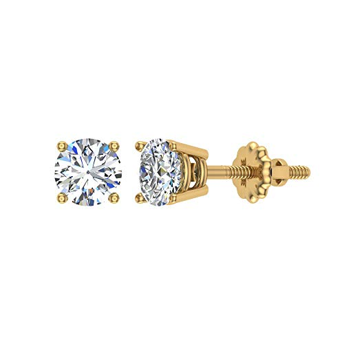 0.06 ct tw Small Four Prong Diamond Stud Earrings 14K Yellow Gold
