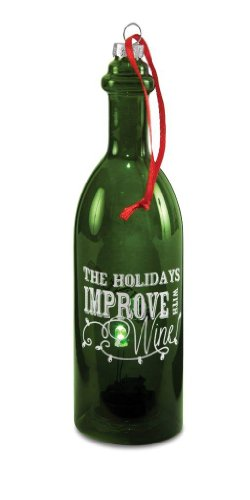 Pavilion Gift Company Wine All The Time 22049 Wine Bottle, The Holidays Improve, 7-Inch