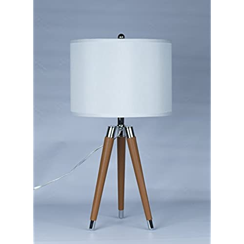 Urbanest Camel Mid Century Modern Tripod Leather U0026 Chrome Table Lamp With  14 Inch White Drum Shade