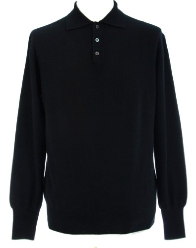 Cashmere Polo - Shephe Men's Polo Cashmere Sweater with 3-button Black Extra Large