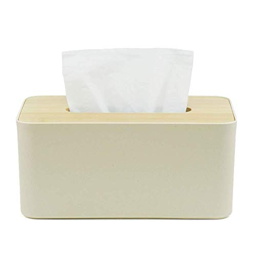 SAROSORA Tissue Box Bamboo Cover Fit Rectangular Paper Boxes, Office Kitchen Bath Living/Bamboo (Canary)