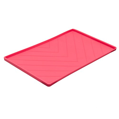 - Messy Mutts Non-Slip Silicone Dog Bowl Mat with Raised Edge and Two Metal Reinforced Sides
