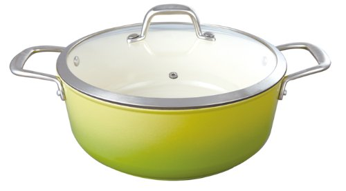Le Cuistot Enameled Cast-Iron 5.2 Quart Round Casserole with Glass Lid - 2 Tone Green