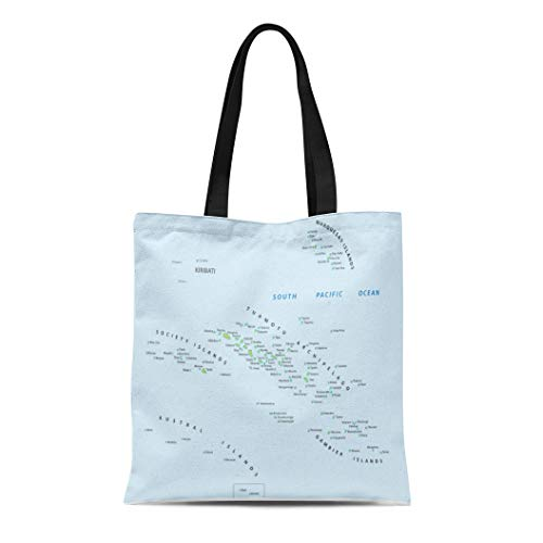 (Semtomn Canvas Tote Bag Shoulder Bags Marquesas Tahiti French Polynesia Map Society Pacific Windward Archipelago Women's Handle Shoulder Tote Shopper Handbag)