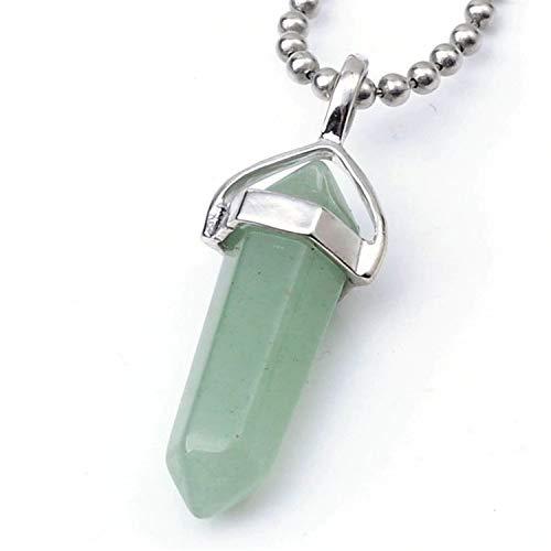 Natural Green Aventurine Healing Point Reiki Chakra Cut 18 Inch Gemstone Pendant Necklace (1pc) #GGP-C17