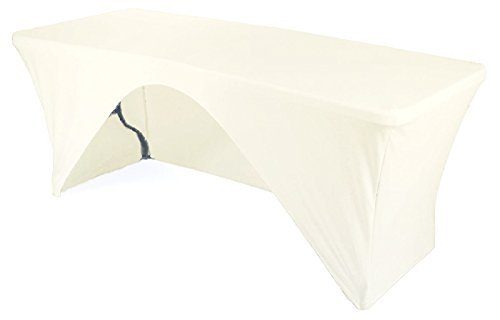 URBY 4' ft One Side Open Spandex Fitted Stretch Tablecloth Rectangular Table Cover - Side Tablecloth 4