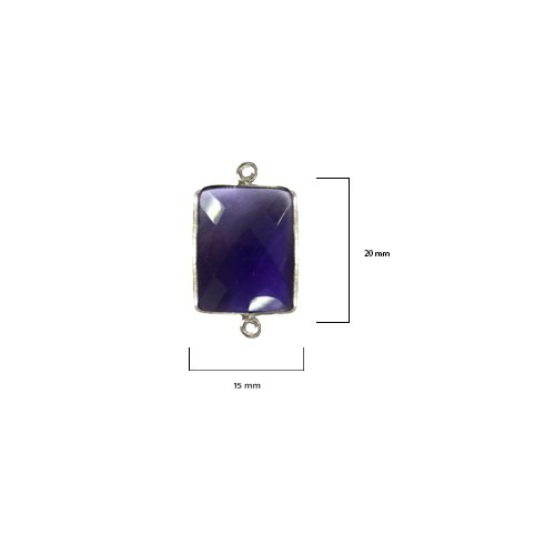 2 Pcs Amethyst Rectangle Beads 15X20mm silver by BESTINBEADS, Amethyst Hydro Quartz Rectangle Pendant Bezel Gemstone Connectors over 925 sterling silver bezel jewelry making - Rectangle Quartz Pendant