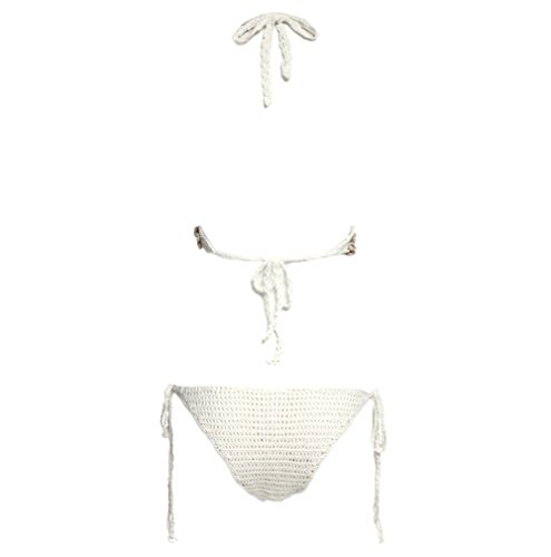 Y&L de las Mujeres Crochet Tejida a Dos Piezas del Bikini Establece Corpiño Cáscara de la parte Superior y la parte Inferior de Verano de trajes de baño Blanco