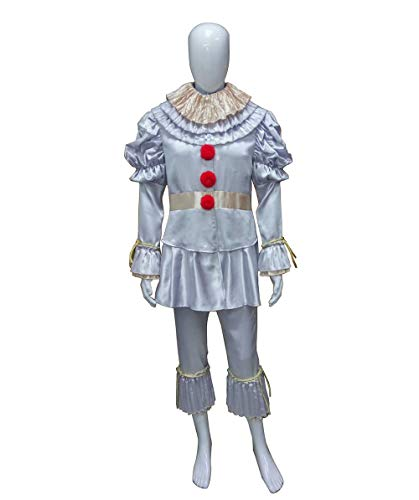HalloweenPartyOnline Men's IT Pennywise Costume, Silver HC-176