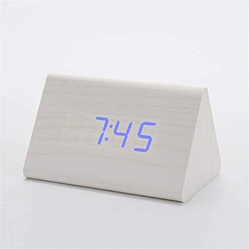 デジタル目覚まし時計、創造的な木製デスク目覚まし時計、デジタルサウンドコントロール、スヌーズウッド、白いテーブル温度計、家の装飾