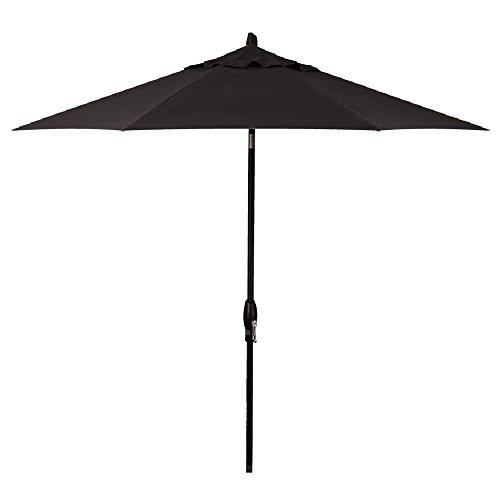 Treasure Garden 9-Foot (Model 810) Deluxe Auto-Tilt Market Umbrella Black Frame Sunbrella Fabric: Black (Includes Extended Frame Warrantee) ()