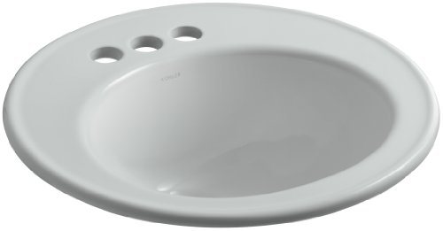 KOHLER K-2202-4-95 Brookline Self-Rimming Bathroom Sink, Ice Grey 95 Ice Grey Vessels